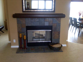 NATURAL SLATE SURR W  LOG MANTLE
