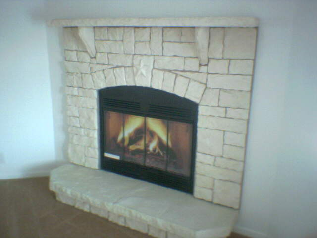 Austin Surround With Star Key, Stone Mantel and Raised Platform